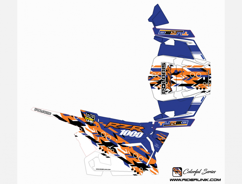 KIT DECO SSV POLARIS RZR Colorful Bleu 2