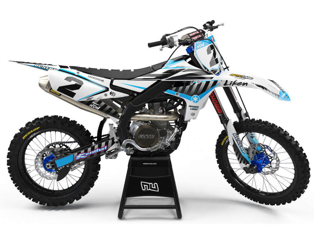 KIT DECO MOTOCROSS LIKEN WHITE CYAN