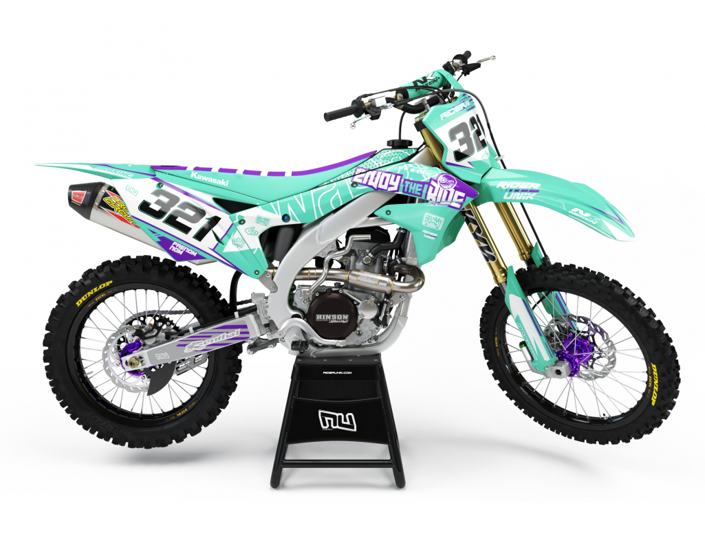 KIT DECO MOTOCROSS ENJOY THE RIDE AQUA