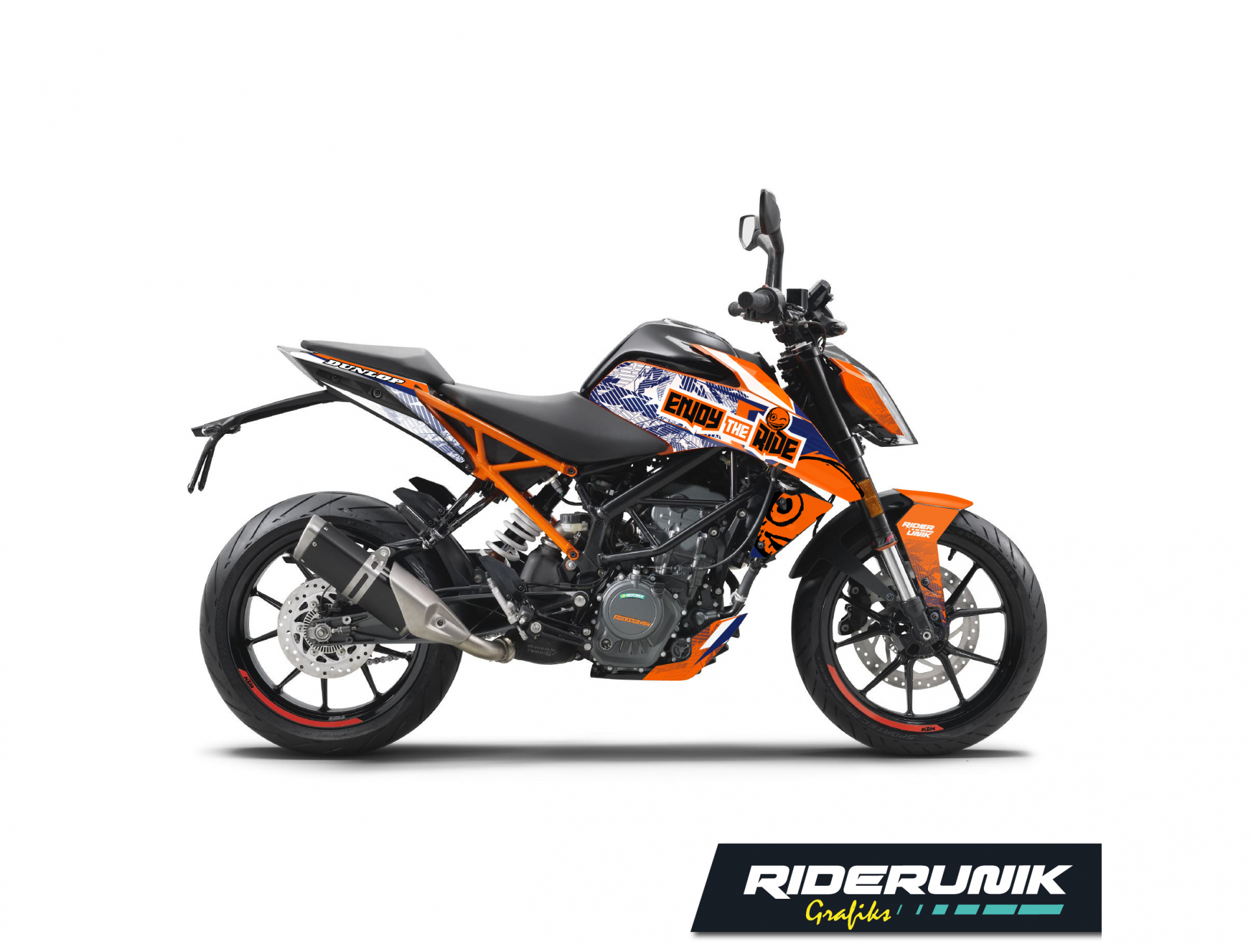 KIT DECO KTM DUKE ENJOY THE RIDE BLANC