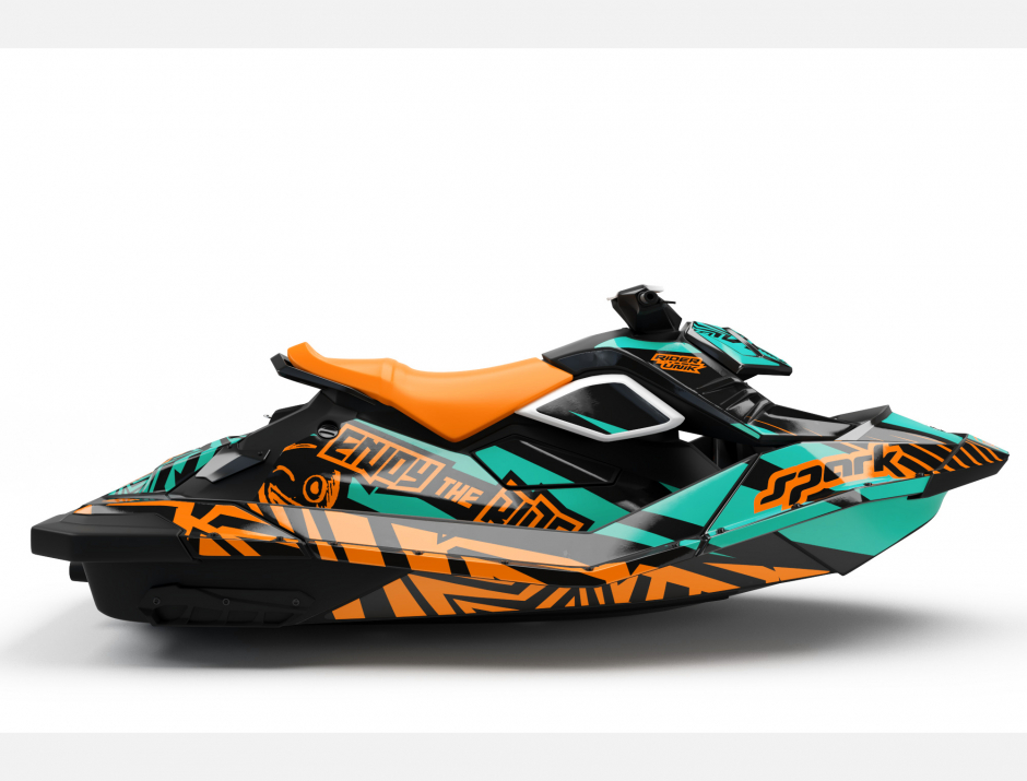 KIT DECO SEA-DOO SPARK ENJOY THE RIDE AQUA/ORANGE FULL 2