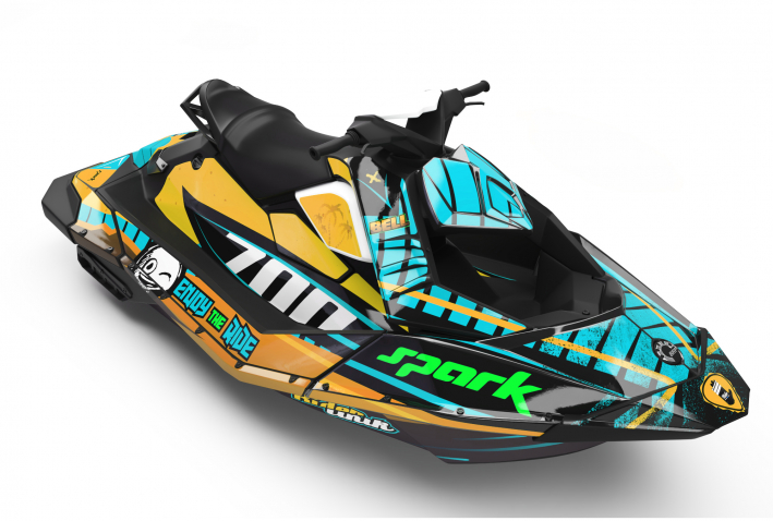 KIT DECO SEA-DOO SPARK ENJOY THE RIDE CUP CYAN